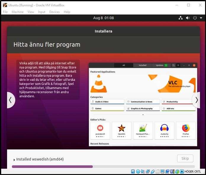 Ubuntu installeras på virtuell hårddisk
