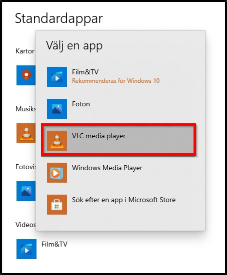 VLC standardapp for video