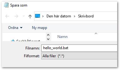 batfil som säger hello world