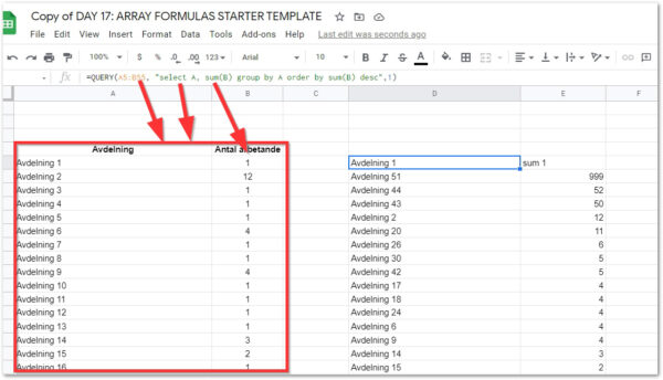2021 02 25 14 22 15 Copy of DAY 17 ARRAY FORMULAS STARTER TEMPLATE Google Sheets