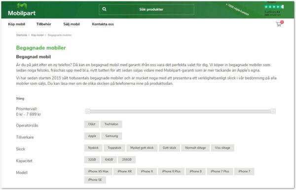 Mobilpart webbsida
