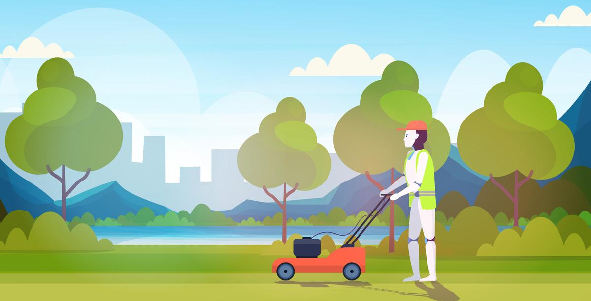 En robot klipper en grasmatta