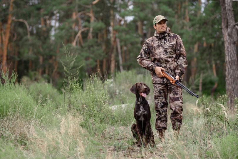 Hund och agare som jagar vilt