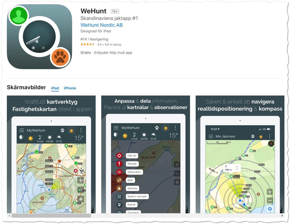 Wehunt app for iphone en oversiktsbild