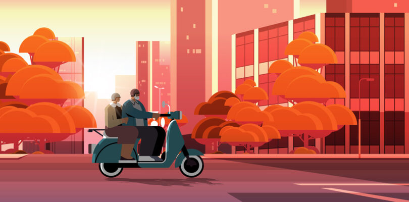 Gammalt par pa moped
